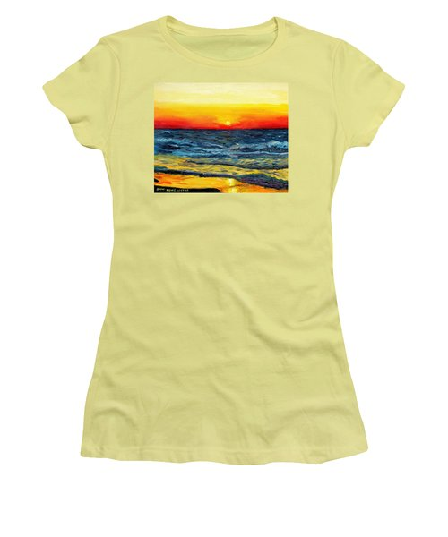 Women's T-Shirt (Junior Cut) featuring the painting Sunrise Over Paradise by Shana Rowe Jackson