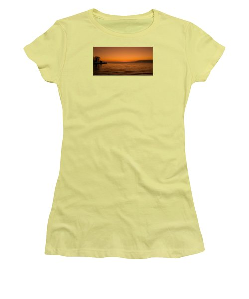 Women's T-Shirt (Junior Cut) featuring the photograph Sunrise Over The Lake Of Two Mountains - Qc by Juergen Weiss