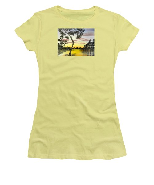 Sunrise Over The Murray River At Lowson South Australia Women's T-Shirt (Athletic Fit)