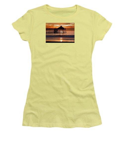 Sunset At Ib Pier Women's T-Shirt (Junior Cut) by Barbie Corbett-Newmin