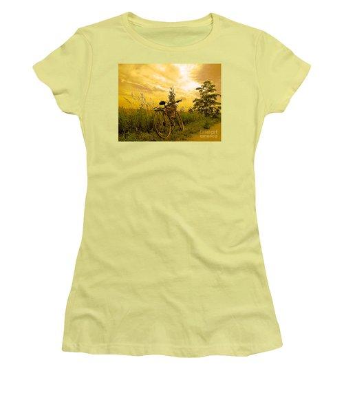 Sunset Biking Women's T-Shirt (Junior Cut) by Nina Silver