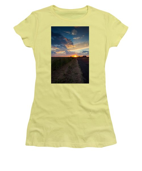 Sunset Down A Country Road Women's T-Shirt (Athletic Fit)