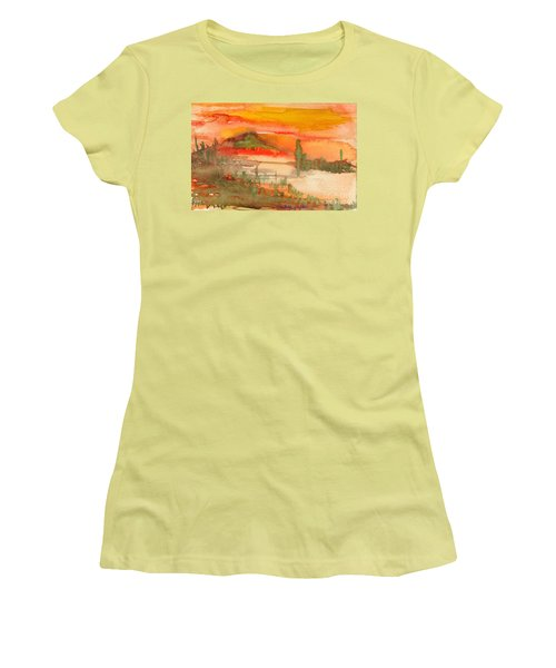 Women's T-Shirt (Junior Cut) featuring the painting Sunset In Saguaro Desert  by Mukta Gupta