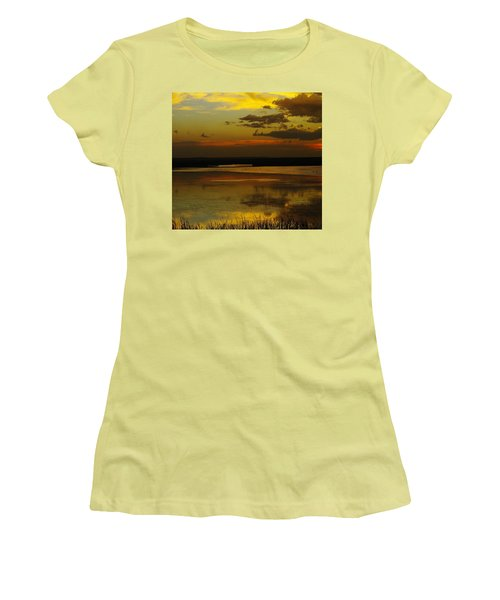 Sunset On Medicine Lake Women's T-Shirt (Junior Cut) by Jeff Swan