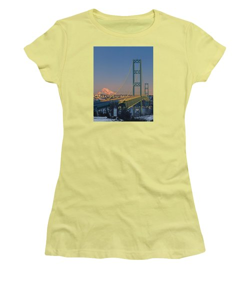 1a4y20-v-sunset On Rainier With The Tacoma Narrows Bridge Women's T-Shirt (Athletic Fit)