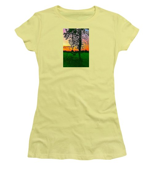 Women's T-Shirt (Junior Cut) featuring the photograph Sunset Over M-33 by Daniel Thompson