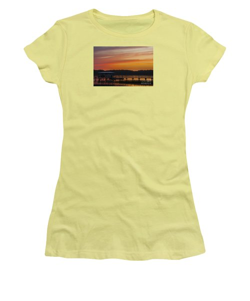 Women's T-Shirt (Junior Cut) featuring the photograph Sunset Over The Wando River by Dale Powell