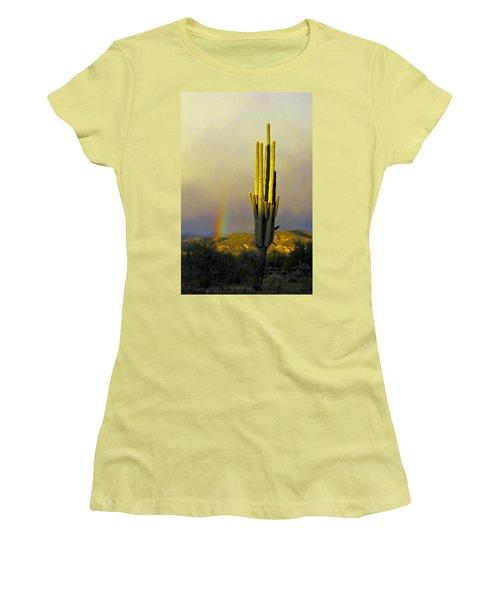 Sunset Rainbow Cactus Women's T-Shirt (Junior Cut) by John Haldane