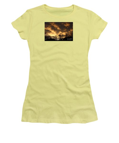 Women's T-Shirt (Junior Cut) featuring the photograph Sunset Silhouettes by Nareeta Martin