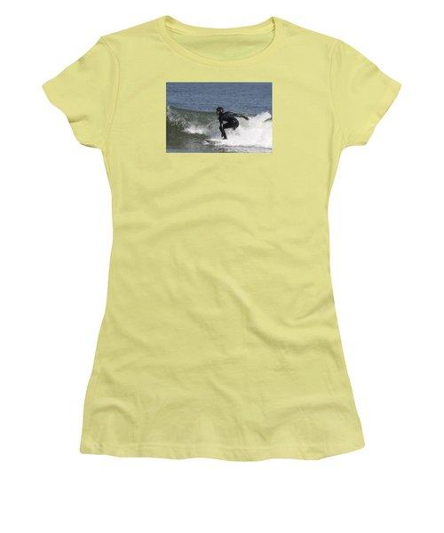 Surfer Hitting The Curl Women's T-Shirt (Junior Cut) by John Telfer