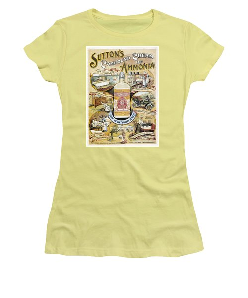 Women's T-Shirt (Junior Cut) featuring the photograph Sutton's Compound Cream Of Ammonia Vintage Ad by Gianfranco Weiss