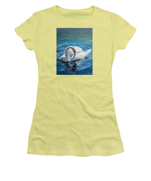 Women's T-Shirt (Junior Cut) featuring the painting Swan by Jieming Wang