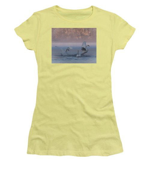 Women's T-Shirt (Junior Cut) featuring the photograph Swans Chasing by Patti Deters