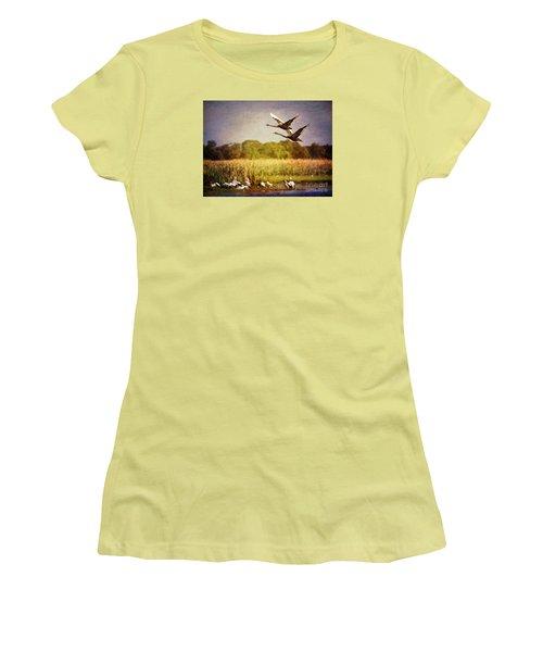 Swans In Flight Women's T-Shirt (Junior Cut) by Kym Clarke