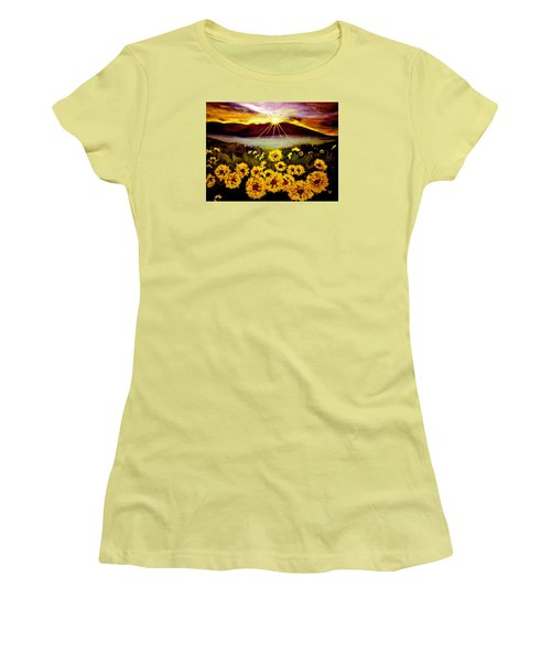 Women's T-Shirt (Junior Cut) featuring the painting Symphony Of The Sun.. by Cristina Mihailescu