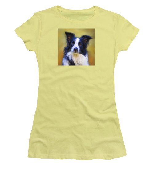Beautiful Border Collie Portrait Women's T-Shirt (Athletic Fit)
