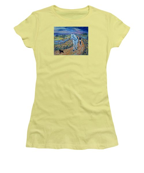 Women's T-Shirt (Athletic Fit) featuring the painting Take Me Home My Friend by Xueling Zou