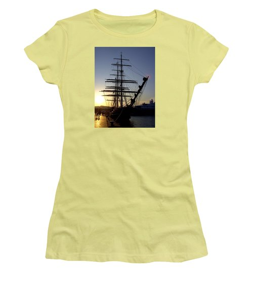 Tall Ship In Ibiza Town Women's T-Shirt (Athletic Fit)