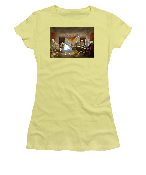 Women's T-Shirt (Junior Cut) featuring the painting Tammy In Independence Hall by Reynold Jay