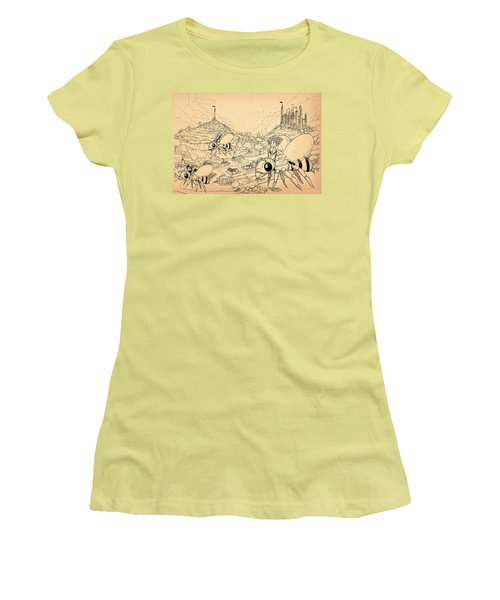 Women's T-Shirt (Junior Cut) featuring the drawing Flight Over Capira by Reynold Jay