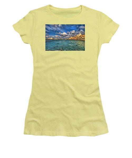 Tel Aviv Jaffa Shoreline Women's T-Shirt (Junior Cut) by Ron Shoshani