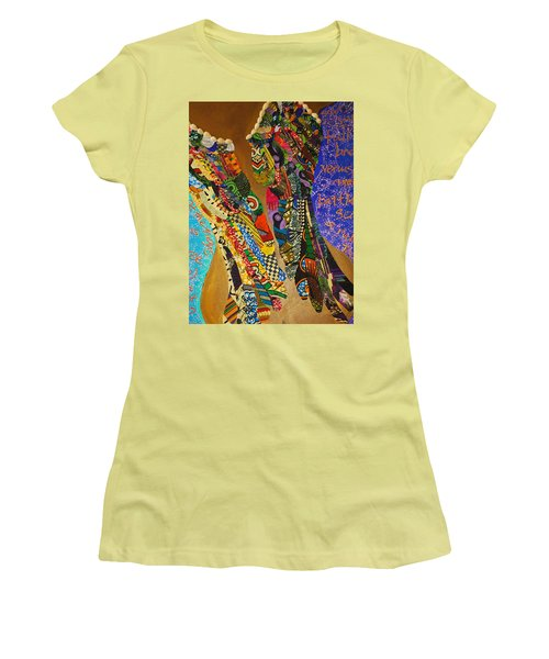 Women's T-Shirt (Junior Cut) featuring the tapestry - textile Temple Of The Goddess Eye Vol 1 by Apanaki Temitayo M