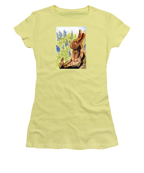 Women's T-Shirt (Junior Cut) featuring the painting Terra Cotta Bunny Family by Angela Davies