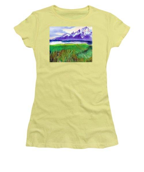 Teton View Women's T-Shirt (Junior Cut) by C Sitton