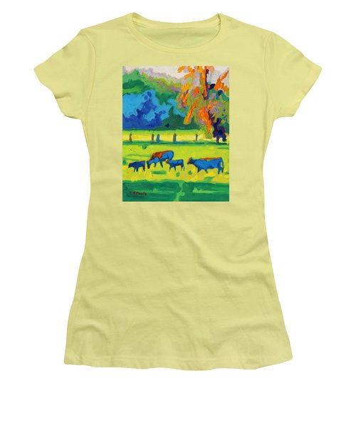 Texas Cows At Sunset Oil Painting Bertram Poole Apr14 Women's T-Shirt (Athletic Fit)