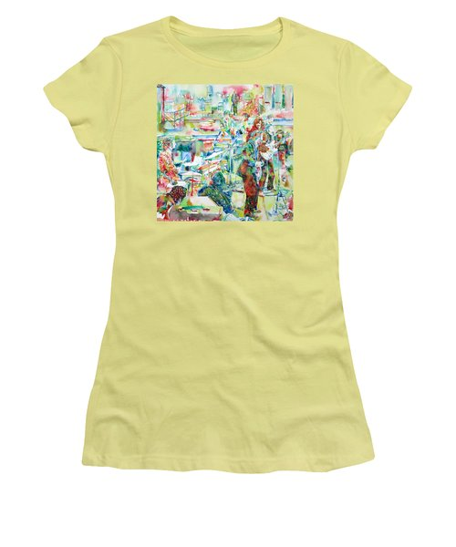 The Beatles Rooftop Concert - Watercolor Painting Women's T-Shirt (Athletic Fit)