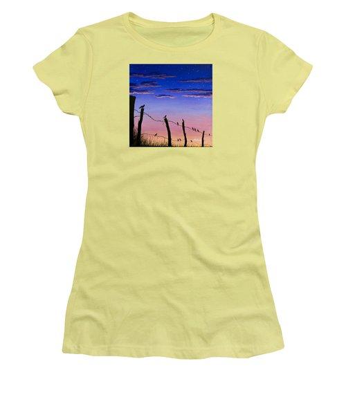 The Birds - Morning Has Broken Women's T-Shirt (Junior Cut) by Jack Malloch