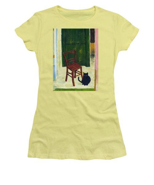 Women's T-Shirt (Junior Cut) featuring the painting The  Black Cat by Hartmut Jager