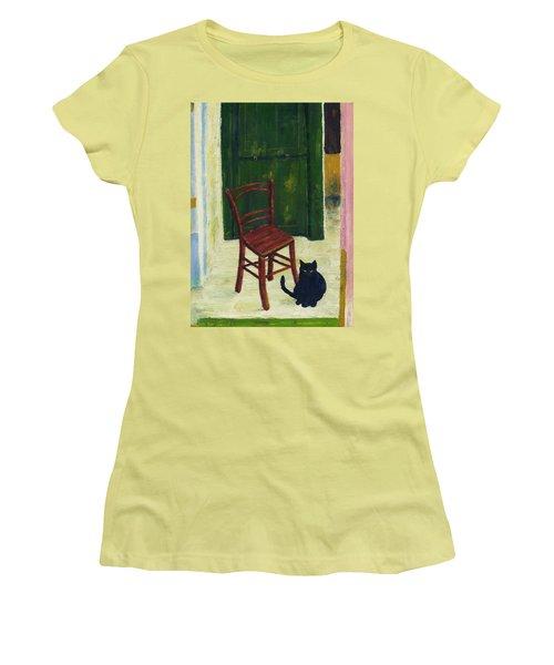The  Black Cat Women's T-Shirt (Junior Cut) by Hartmut Jager