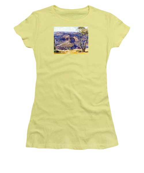 Women's T-Shirt (Junior Cut) featuring the painting The Canyon by Lee Piper