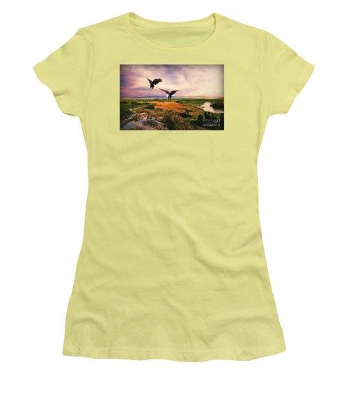 Women's T-Shirt (Junior Cut) featuring the digital art The Eagle Will Rise Again by Lianne Schneider