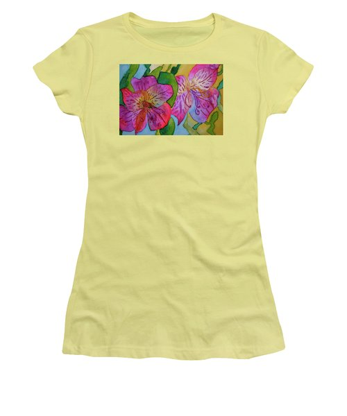 The Electric Kool-aid Alstroemeria Test Women's T-Shirt (Junior Cut) by Beverley Harper Tinsley