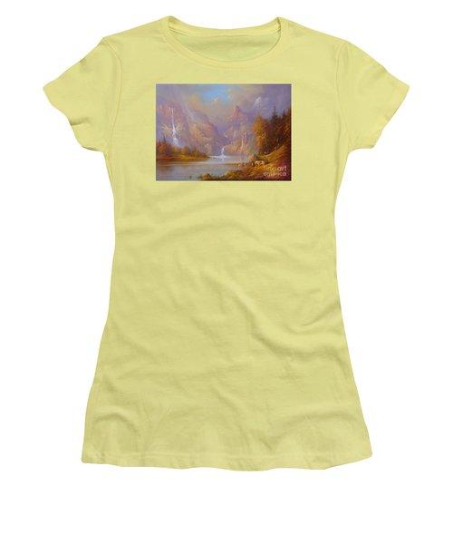 The Fellowship Doors Of Durin Moria.  Women's T-Shirt (Junior Cut) by Joe  Gilronan
