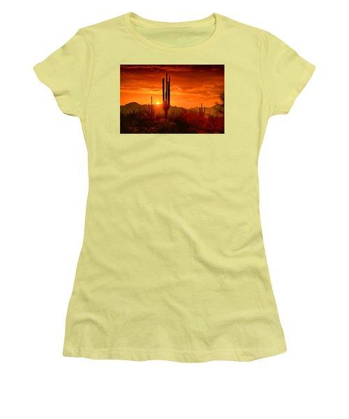 The Golden Southwest Skies  Women's T-Shirt (Junior Cut) by Saija  Lehtonen