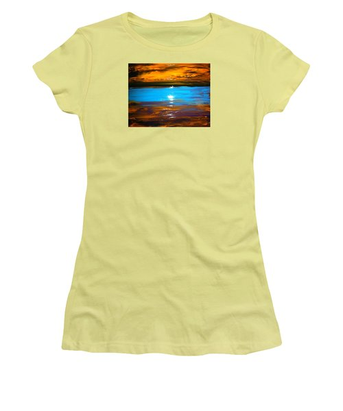 Women's T-Shirt (Junior Cut) featuring the painting The Golden Sunset by Kicking Bear  Productions