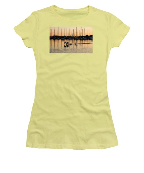 The Golden Takeoff - Swan Sunset And Yachts At A Marina In Toronto Canada Women's T-Shirt (Athletic Fit)
