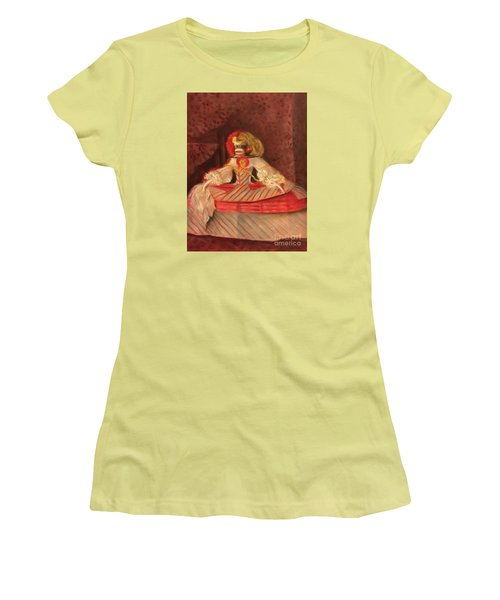 Women's T-Shirt (Junior Cut) featuring the painting The Infant Margarita by Randol Burns