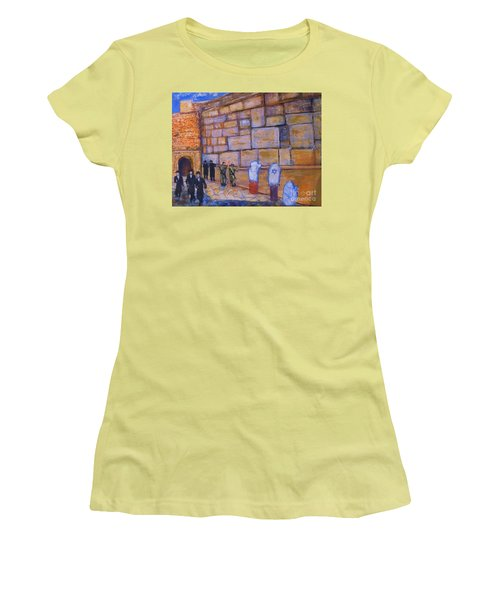Women's T-Shirt (Junior Cut) featuring the painting The Kotel by Donna Dixon