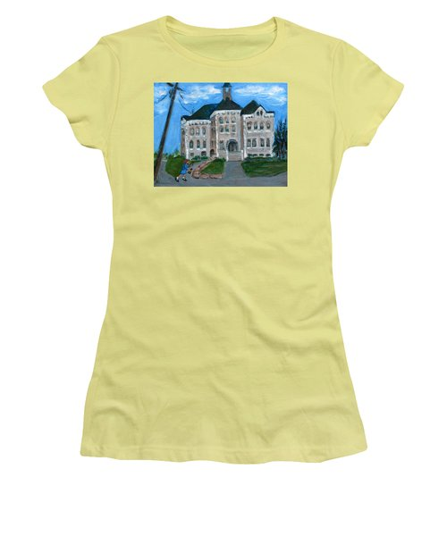 Women's T-Shirt (Junior Cut) featuring the painting The Last Bell At West Hill School by Betty Pieper