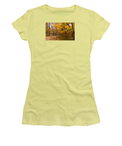 Women's T-Shirt (Junior Cut) featuring the photograph The Little Bridge Over Valley Creek by Rima Biswas