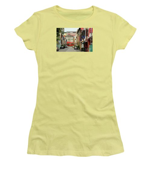 Women's T-Shirt (Junior Cut) featuring the photograph The Majestic Theater Chinatown Singapore by Imran Ahmed