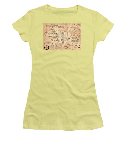 Women's T-Shirt (Junior Cut) featuring the painting The Map Of Kira by Reynold Jay