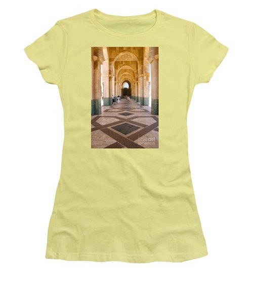 Women's T-Shirt (Junior Cut) featuring the photograph The Massive Colonnades At The Hassan II Mosque Sour Jdid Casablanca Morocco by Ralph A  Ledergerber-Photography