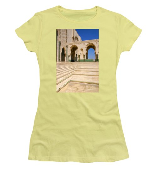 Women's T-Shirt (Junior Cut) featuring the photograph The Massive Colonnades Leading To The Hassan II Mosque Sour Jdid Casablanca Morocco by Ralph A  Ledergerber-Photography