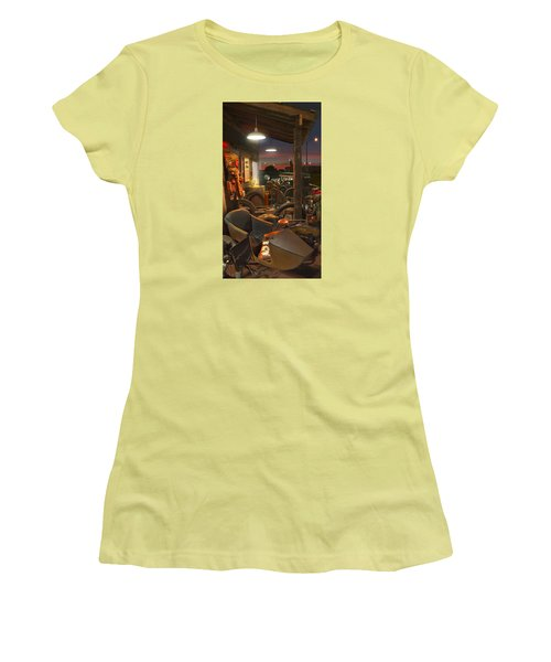 The Motorcycle Shop 2 Women's T-Shirt (Junior Cut) by Mike McGlothlen