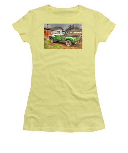 Women's T-Shirt (Junior Cut) featuring the photograph The Old Green Truck by Jim Thompson